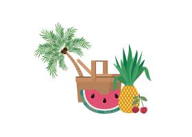 白色带热带水果的野餐篮子_4738906