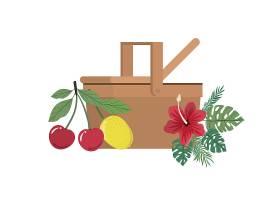 白色带热带水果的野餐篮子_4738908
