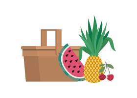 白色带热带水果的野餐篮子_4738927