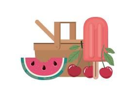 白色带热带水果的野餐篮子_4738939
