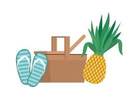 白色带热带水果的野餐篮子_4738940