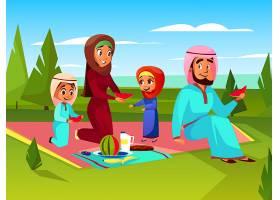 阿拉伯家庭在野餐卡通插图哈利吉的沙特穆_2890950