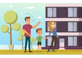 矢量插图卡通小家庭幸福美满_3941656