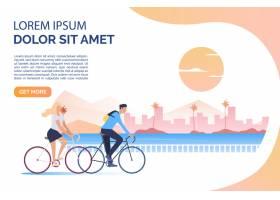 骑自行车的女人和男人太阳城市景观和样_4951575