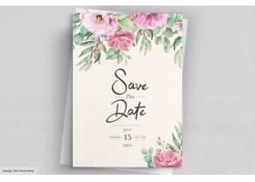 粉色玫瑰鲜花和树叶镶嵌的花卉婚礼请柬模_12847439