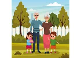 祖父母和孙子们在公园里_4889848