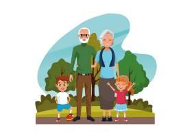 祖父母和孙子们在公园里_4889851