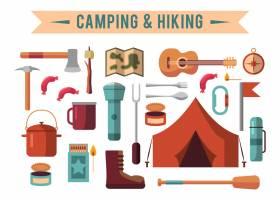 露营平台配有徒步旅行设备和户外烹饪图标_3332298