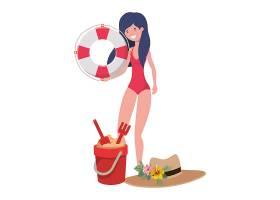 穿着泳衣和救生花车的女子穿着白色_4741045