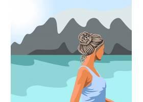 穿着蓝色背心的头发花白的女人看着湖和山_11689056