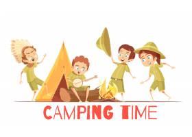 童子军夏令营活动复古卡通海报玩印度人唱_4385957