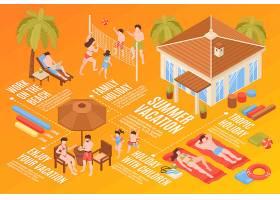 等距海滨别墅热带度假水平流程图与家庭成员_7200425