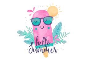 水彩画你好夏天和冰激凌_7708643