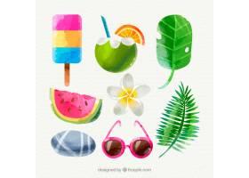 水彩画风格的夏季元素集_2206732