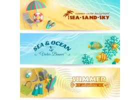 海滨暑假冒险与游泳和潜水配件设置的水平横_4005510