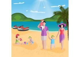 海滩上的人们有着热带海滩的风景和带着孩子_10557936