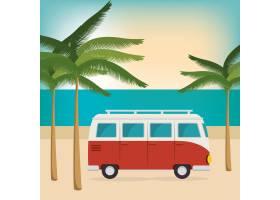 海滩上的汽车暑假_6545644