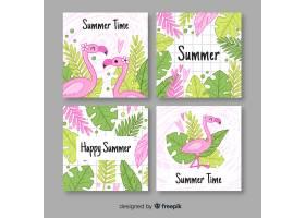 手绘火烈鸟和树叶夏季标签系列_4412558