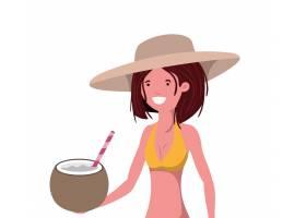 手里拿着泳衣和椰子水的女子_4741022