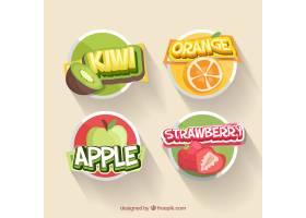 收集四张平面设计的水果贴纸_1109036