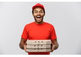 送货概念英俊的非洲裔美国披萨送货员肖像_1289660