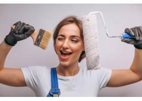 女修理工与油漆滚筒隔离_4410799