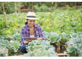 农民们在菜园里干活用数字平板电脑检查蔬_3937900