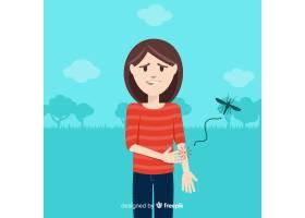蚊子叮咬扁平设计的人_3076218