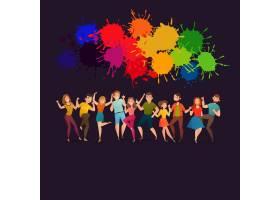 跳舞的人们喜庆的彩色海报_4385370