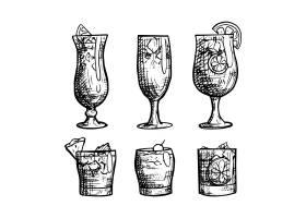 轮廓手绘鸡尾酒系列_9007644