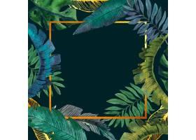 金色框架的水彩热带树叶_8355254