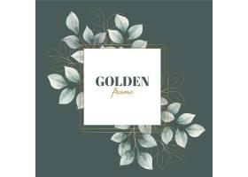 金色边框的水彩叶_8274067
