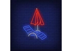 长椅和沙滩伞霓虹灯招牌避暑度假_4997543
