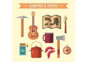 露营平台配有徒步旅行设备和户外烹饪图标_3332310