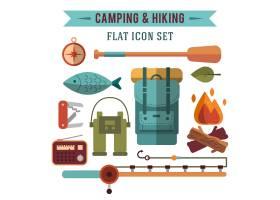 露营平台配有徒步旅行设备和户外烹饪图标_3332311