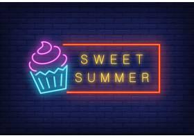 甜蜜的夏日霓虹灯文字与冰激凌相框季节性_2767094