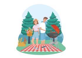 男人和女人带着烤香肠和盛放食物的篮子_4945131
