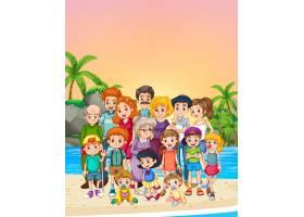 站在海滩上的家庭成员_4726884