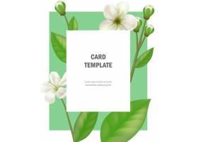 绿色边框上有苹果花的贺卡模板聚会活动_2748323