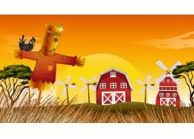 自然界中有谷仓风车和稻草人的农场场景_11693341