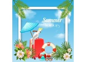热带天堂方框构图与植物旅行箱形象_6831402