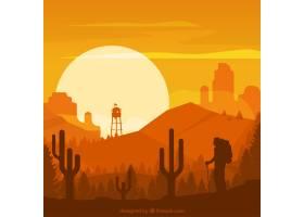 橙色色调的沙漠景观_922755