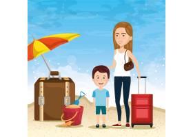 母亲和儿子在海滩上_4877400