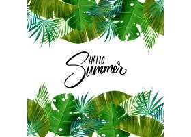 水彩画你好夏天的热带树叶_8247873