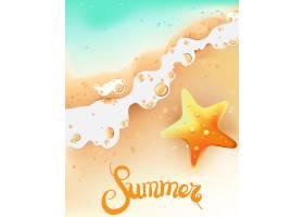 海滨与海星的夏日构图_8860445