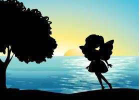 海滩上的仙女剪影_10139093