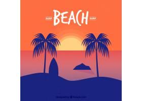 日落时的棕榈树带冲浪板背景_1121358