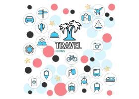 暑假线路图标收藏与车辆招牌棕榈树袋太阳山_11053644