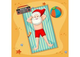 有夏日元素的圣诞老人在海滩上晒日光浴_12321203