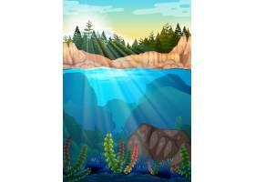 有松树和水下的场景_4906568